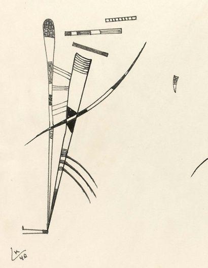 Wassily KANDINSKY (1866-1944) Sans titre, 1940 Encre de Chine sur papier, signée...