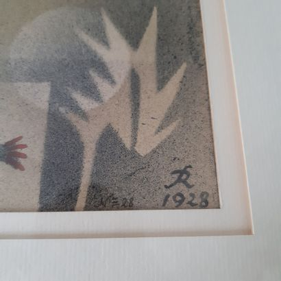 Hans Reichel (1892-1958) Maison, poisson et plante, n°28, 1928 Aquarelle sur papier,...