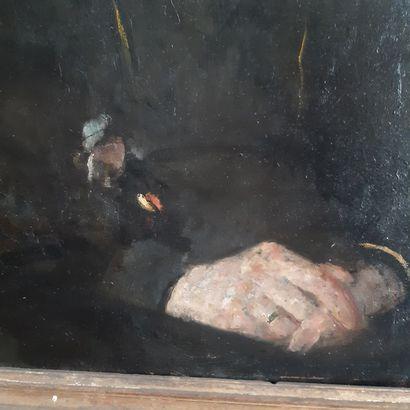 Olga BOZNANSKA (1865-1940) Study of a young girl in black Oil on board, signed upper...
