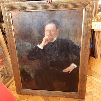 Olga BOZNANSKA (1865-1940) Presumed portrait of Louis Libaude, 1904 (?) Oil on board,...