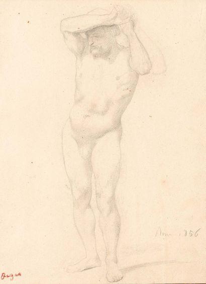 Edgar DEGAS (1834-1917) Nude Study, 1856 Black pencil and stump drawing, bears the...