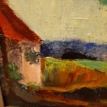 André UTTER (1886-1948) The pink house Oil on canvas, signed lower left. 55 x 46...
