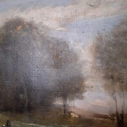 Jean-Baptiste Camille COROT (1796-1875) Trois personnages au marais, vers 1865-1870...