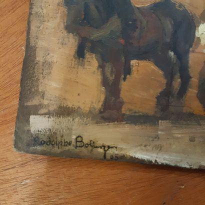 Rodolphe BOLLIGER (1878-1952) Tombereau attelé, 1905 Les baigneuses Huile sur carton...