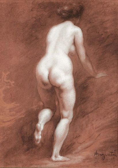 LOUIS ANQUETIN (1861-1932) Nude woman from behind White chalk and charcoal, signed...