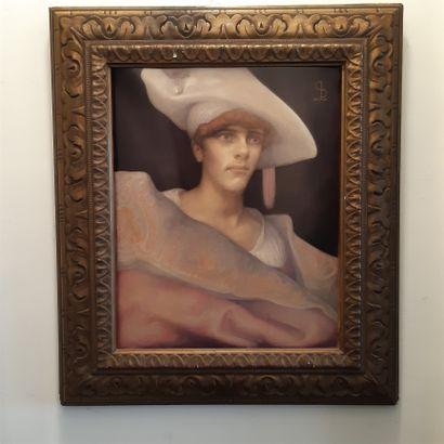 Léonard SARLUIS (1874-1949) Portrait au chapeau blanc, 1911 Huile sur carton contrecollée...