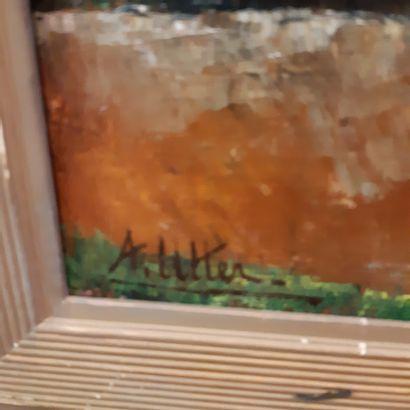 André UTTER (1886-1948) La maison rose Huile sur toile, signée en bas à gauche. 55...