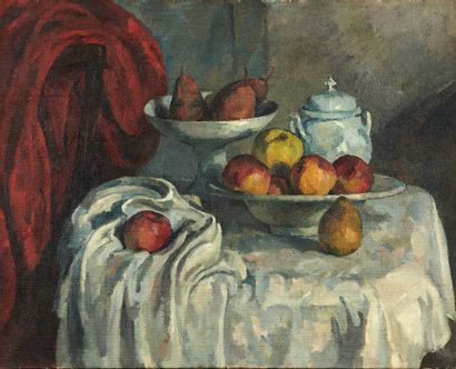 Alfredo MULLER (1869-1939) Hommage à Cézanne, vers 1908-1910 Huile sur toile, porte...