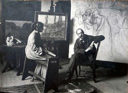 Alfredo MULLER (1869-1939) La Seine aux environs de Vernonnet, vers 1899-1901 Huile...