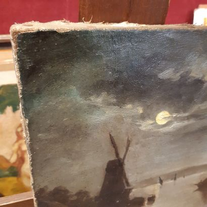 PIGALE Moonlight on the canal at the mill Oil on canvas, signed lower right. (Restorations)....