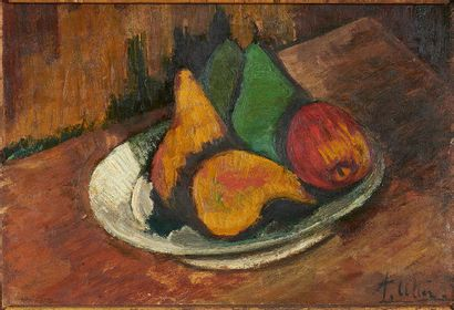 André UTTER (1886-1948) L'assiette de fruits Huile sur carton, signée bas à droite....