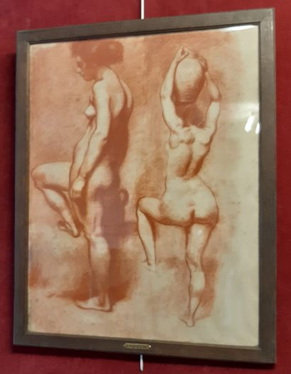 LOUIS ANQUETIN (1861-1932) Study of nudes from the back and three-quarter Sanguine...