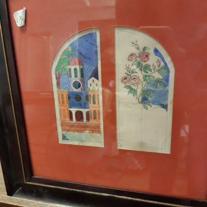 Charles FILIGER (1863-1928) L'église, 1911 Rosier, 1911 Deux aquarelles sur traits...