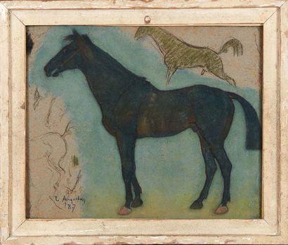 LOUIS ANQUETIN (1861-1932) Étude de chevaux, 1887 Pastel, signé et daté 87 en bas...