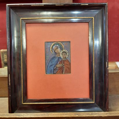 Charles FILIGER (1863-1928) Virgin and Child, Ora pro Nobis, 1894 Gouache on a print...
