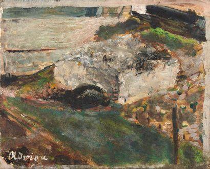 Lucien ADRION (1889-1953) Bord de rivière Huile sur toile, signée en bas à gauche....