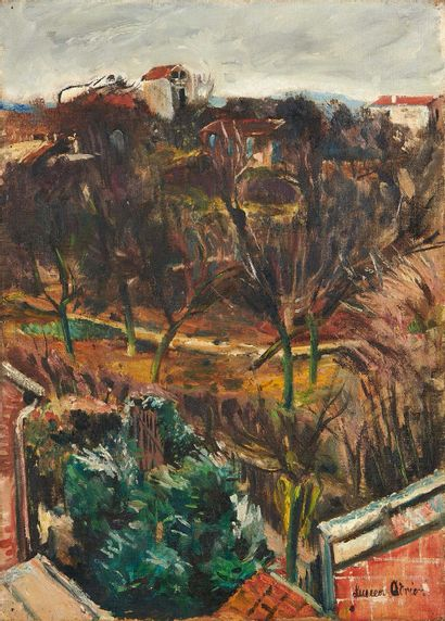 Lucien ADRION (1889-1953) Suburban gardens Oil on canvas, signed lower right. 43...