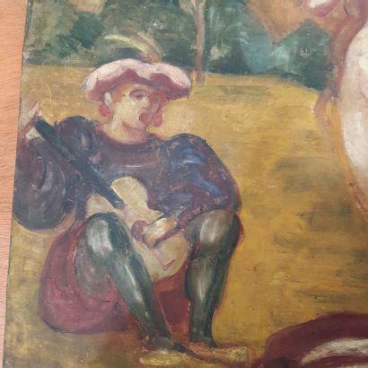 Emile BERNARD (1868-1941) Le troubadour et sa muse, 1895 Huile sur toile, signée...