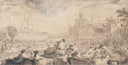 ÉCOLE FRANÇAISE du milieu du XVIIIe siècle Mise à l'eau d'un navire Plume, lavis...