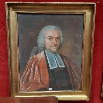 École FRANÇAISE du XVIIIe siècle Portrait of a magistrate Pastel. (Accidents). 64,5...