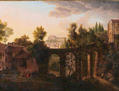 École FRANÇAISE de la fin du XVIIIe siècle Paysage au viaduc, animé de personnages...