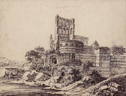 Eustache Hyacinthe LANGLOIS (1777-1837) Ruines d'une église devant un fleuve Plume...