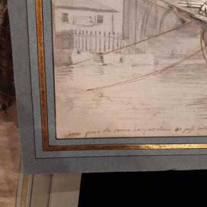 Ecole Italienne du XVIIIe siècle Chargement de pouzelane dans un port italien Crayon,...