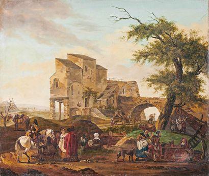 Attribué à Michel HAMON DUPLESSIS (actif à la fin du XVIIIe siècle) Groupe de personnages...