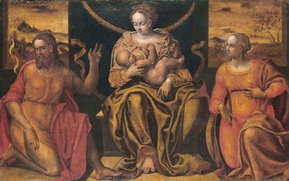 Luca LONGHI (1507-1580) The Virgin and Child Jesus surrounded by St. Catherine of...
