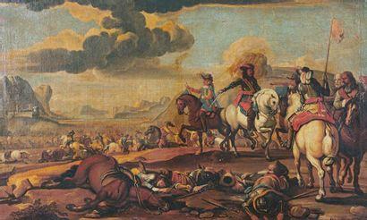 École FRANÇAISE du début du XVIIIe siècle Scène de bataille dans l'Italie du Nord...