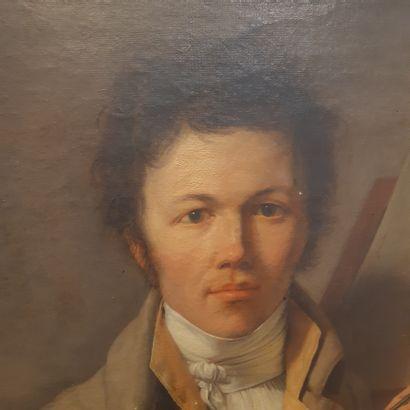 École FRANÇAISE du début du XIXe siècle Portrait of a violinist Oil on canvas. (Accidents)....