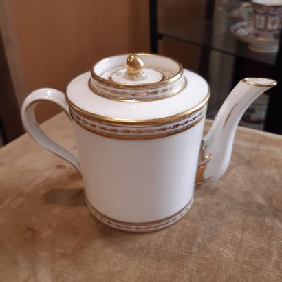 PARIS CLIGNANCOURT Small coffee pot decorated with a crowned monogram. End of the...