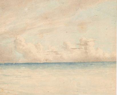 École Française du XIXe siècle Study of the sky over the sea Watercolour, annotated...