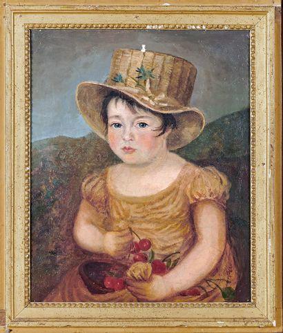 École FRANÇAISE du début du XIXe siècle Portrait of a young girl with cherries Oil...