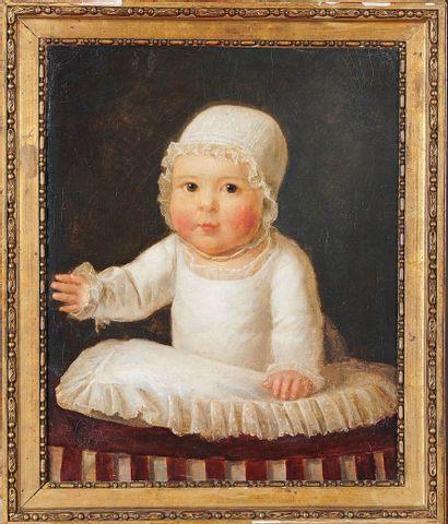 École Française du XIXe siècle Portrait of a child Oil on canvas, lined. 46.5 x 38...