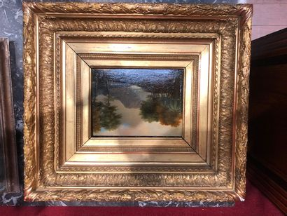 ÉCOLE FRANÇAISE de la fin du XVIIIe ou du début du XIXe siècle Paysage Huile sur...
