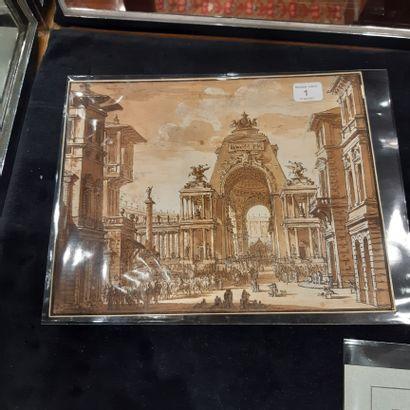 Charles de WAILLY (1730-1798) Caprice architectural avec scène de triomphe antique...