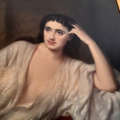 Anna REILLE (1824-1902) Jeune femme alanguie au collier de perles, 1869 Huile sur...