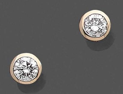 Paire de boutons d'oreilles en or jaune 750...