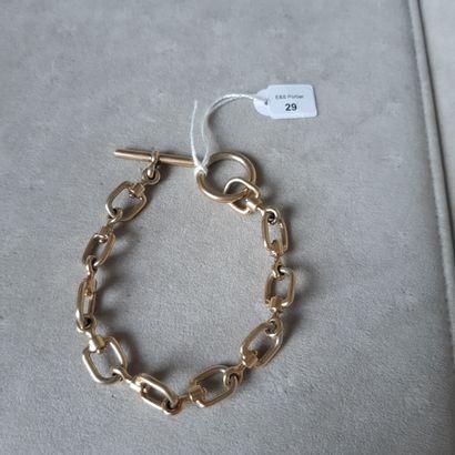 Bracelet articulé en vermeil 925 millièmes à décor de «mors». (Parties dévermeillées)....