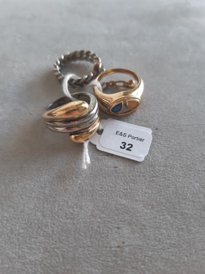 Lot in gold 750 thousandths and silver 925...