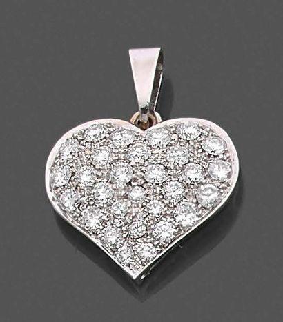 Pendentif coeur en or gris 750 millièmes...