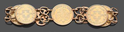 Bracelet articulé en or jaune composé de...