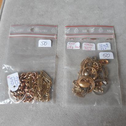Lot en or 750 millièmes et métal comprenant...