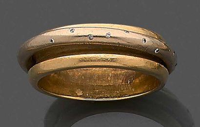 Bague anneau en or jaune 750 millièmes ornée...
