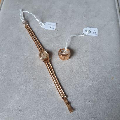Lot comprenant : montre bracelet LIP de dame en or jaune 750 millièmes, la montre...
