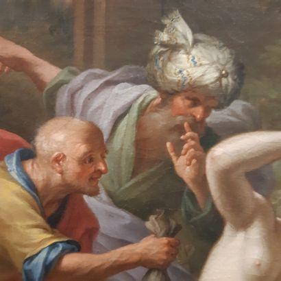 École ROMAINE du XVIIIe siècle Suzanne et les vieillards Huile sur toile. 67,5 x...
