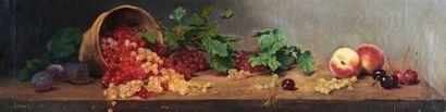 École Française du XIXe siècle Natures mortes de fruits : groseilles, pêches, raisins...