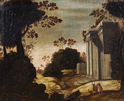 École Française du XVIIe siècle Paysages animés Deux huiles sur toile, formant pendant....