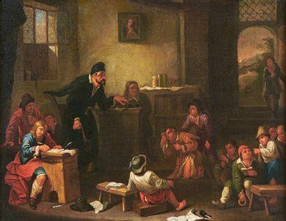 École de Jan-Joseph HOREMANS (1714-1792) Le maître d'école Huile sur toile, rentoilée....